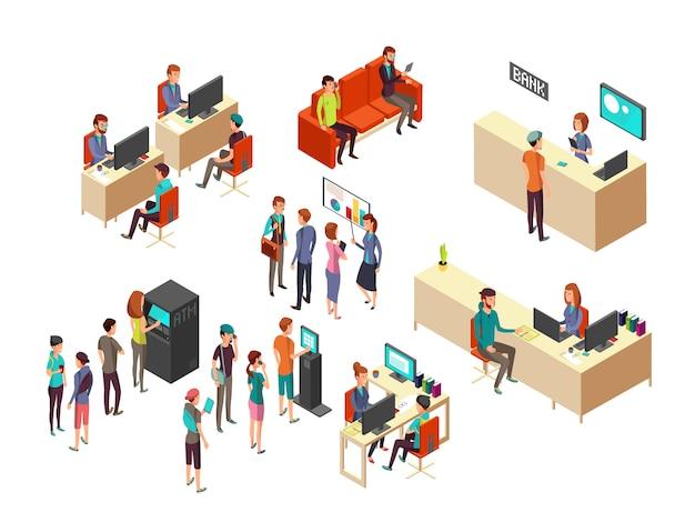 I clienti e gli impiegati di banca isometrici per servizi bancari 3d vector il concetto Vettore Premium