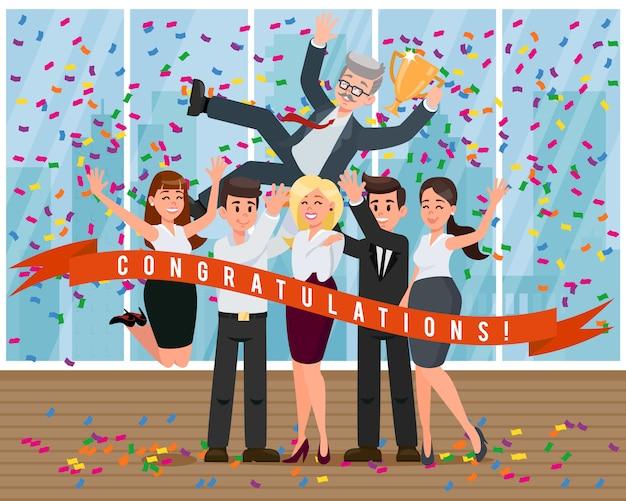 I colleghi dei cartoni animati si congratulano con il capo per il successo. Vettore Premium