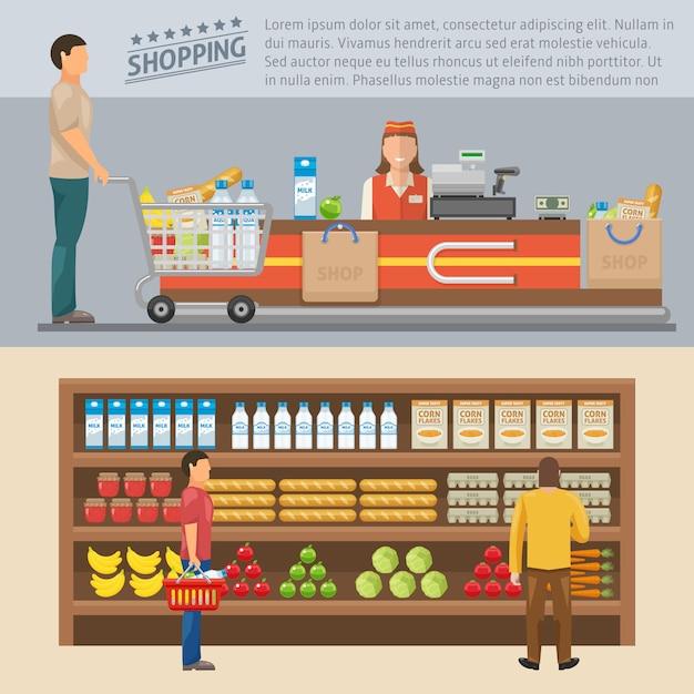 I concetti colorati di compera con l'uomo alla cassa ed i consumatori si avvicinano agli scaffali con l'illustrazione di vettore isolata merci Vettore gratuito