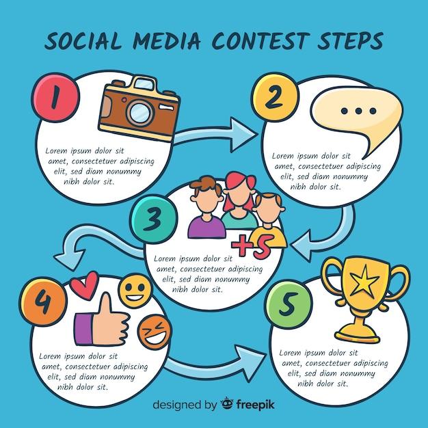 I concorsi sui social media sono fatti di design piatto Vettore gratuito