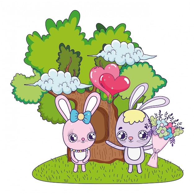 I conigli svegli si accoppiano con il giorno dei biglietti di s. valentino dei fiori Vettore Premium