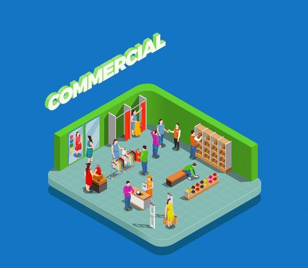 I consumatori durante lo shopping nel negozio di abbigliamento e scarpe Vettore gratuito