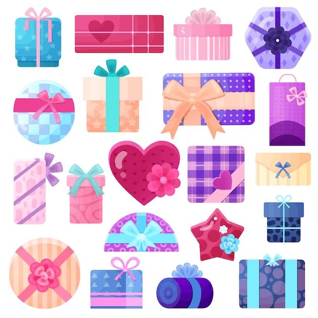 I contenitori e i pacchetti di regali hanno messo per i compleanni e l'altro piano di feste isolato Vettore gratuito