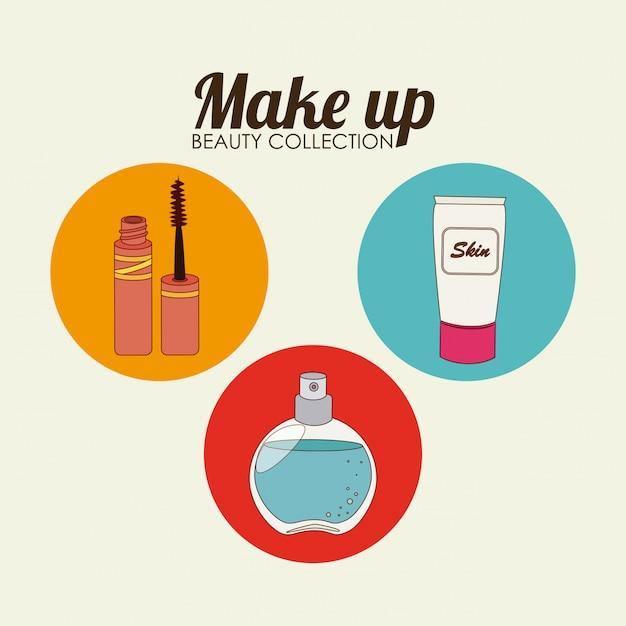 I cosmetici progettano sopra l'illustrazione beige Vettore gratuito