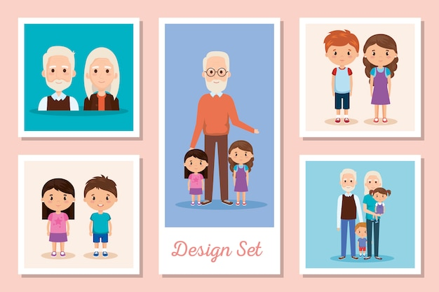 I disegni creano scene di nonni e nipoti Vettore Premium