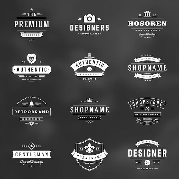 I distintivi ed i loghi d'annata retro hanno messo gli elementi di progettazione di vettore Vettore Premium