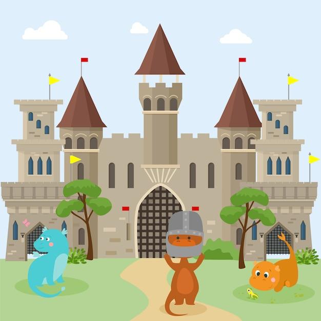 I draghi dei piccoli bambini giocano vicino ai castelli dei cavalieri medievali Vettore Premium