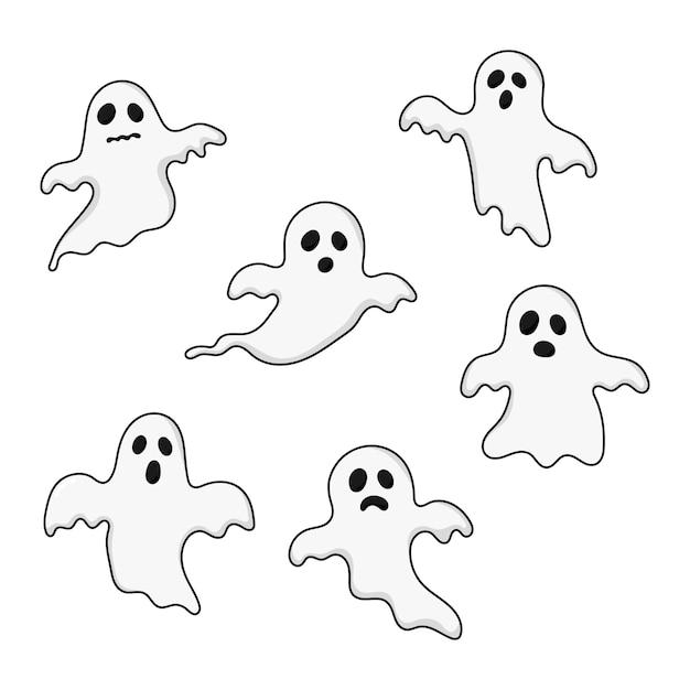 I fantasmi felici di halloween hanno messo le icone. spaventoso, spirito isolato su bianco. Vettore Premium