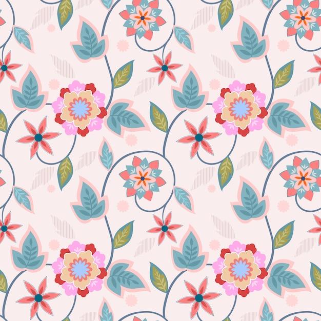 I fiori dell'ornamento progettano il fondo senza cuciture della carta da parati del tessuto del tessuto del modello. Vettore Premium