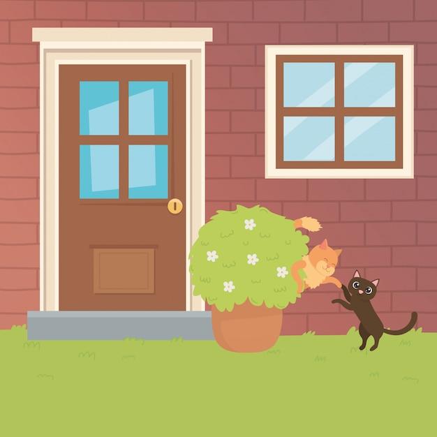 I fumetti dei gatti progettano l'illustratore di vettore Vettore gratuito