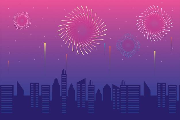 I fuochi d'artificio hanno fatto esplodere esplosioni con citsycape Vettore Premium