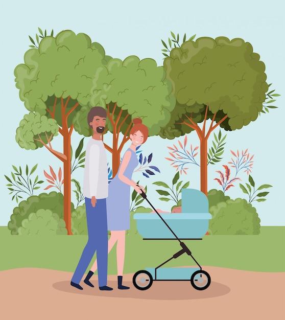 I genitori si prendono cura del neonato con carrello nel parco Vettore gratuito