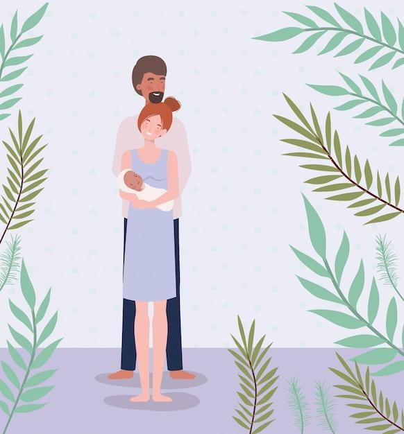 I genitori si prendono cura del neonato con foglie Vettore gratuito