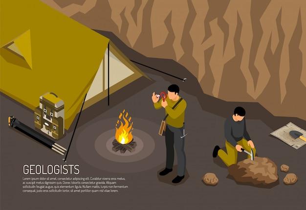 I geologi ricercano la composizione isometrica orizzontale nel campo di lavoro sul campo con l'illustrazione di vettore del corredo degli utensili manuali degli esploratori dei campioni della roccia del fuoco di accampamento della tenda Vettore gratuito