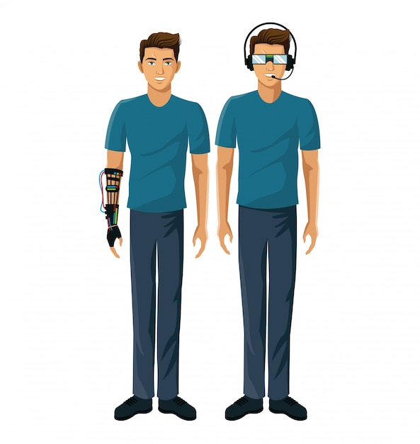 I giocatori degli uomini vr occhiali realtà cablati moderni Vettore Premium