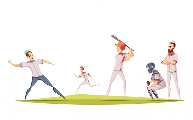 I giocatori di baseball progettano il concetto con le figurine dello sportivo del fumetto impegnate nel gioco sul campo sportivo Vettore gratuito