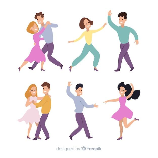 I giovani ballano. lezioni di danza. festa Vettore gratuito