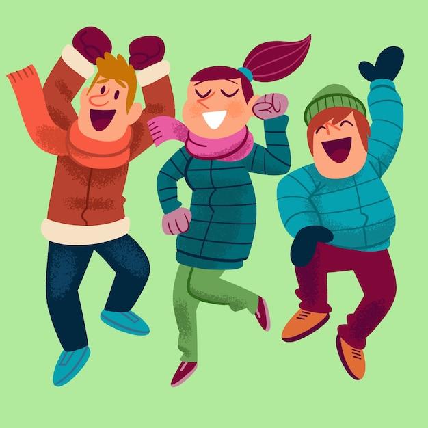 I giovani che indossano abiti invernali saltando Vettore gratuito