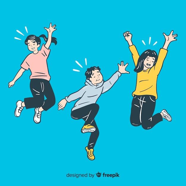 I giovani che saltano nello stile di disegno coreano Vettore gratuito