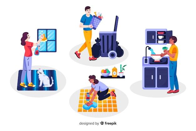 I giovani fanno i lavori domestici a casa loro Vettore gratuito
