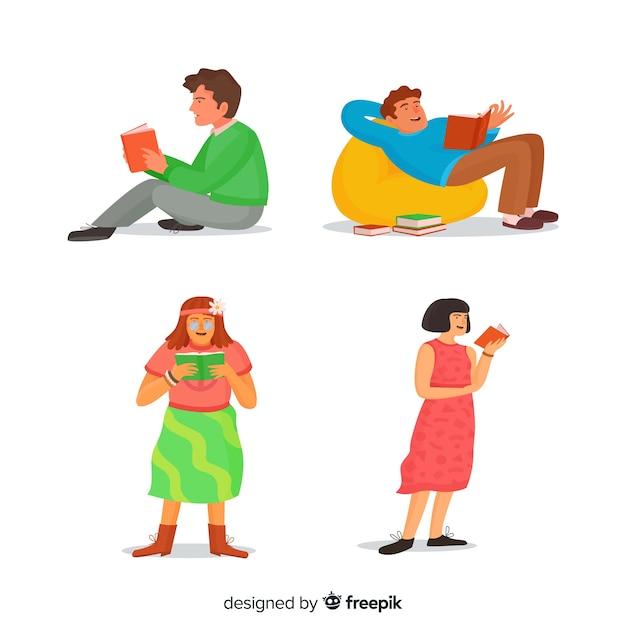 I giovani leggono in diverse posizioni Vettore gratuito