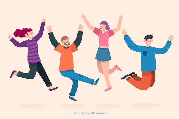 I giovani saltano e si divertono Vettore gratuito