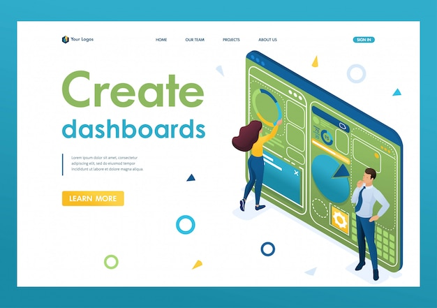 I giovani stanno lavorando alla creazione di una dashboard con un menu individuale. idea di design. 3d isometrico. concetti sulla pagina di destinazione e web design Vettore Premium