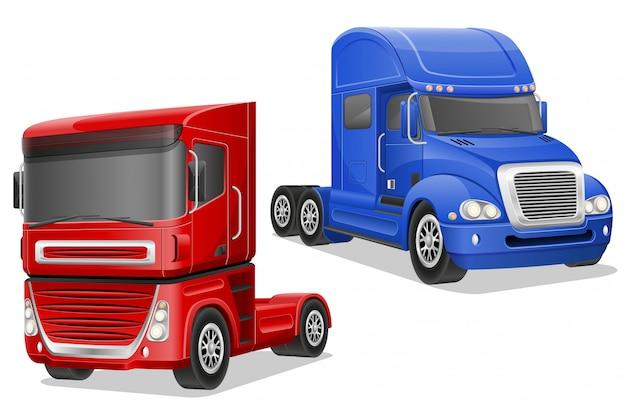 I grandi camion blu e rossi vector l'illustrazione Vettore Premium