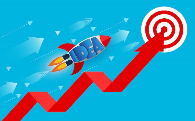 I lanci della navetta spaziale vanno all'obiettivo sulla freccia rossa Vettore Premium