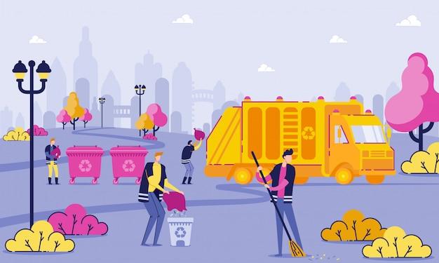 I lavoratori della raccolta dei rifiuti puliscono il fumetto del parco piano Vettore Premium