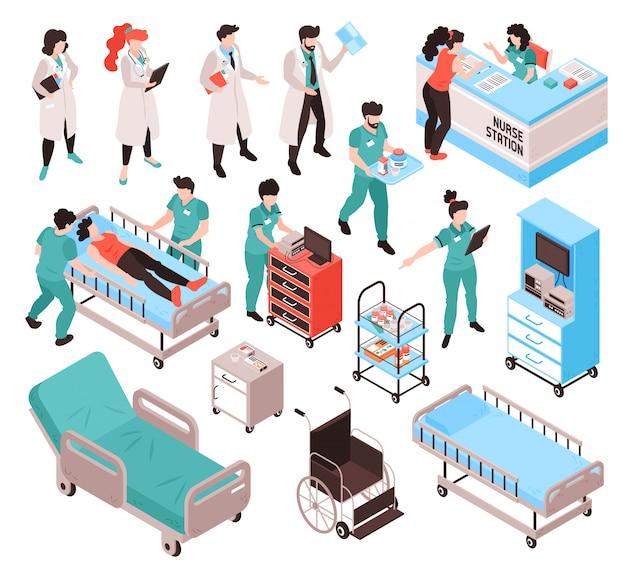 I lavoratori ospedalieri isometrici dell'infermiere di medico hanno messo con i caratteri umani isolati in vestiti uniformi con l'illustrazione di vettore degli oggetti della mobilia Vettore gratuito