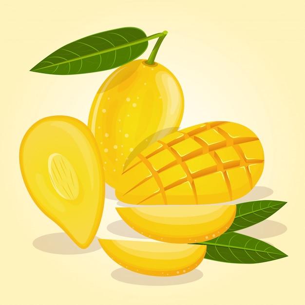 I manghi maturi sono di colore giallo in varie forme Vettore Premium