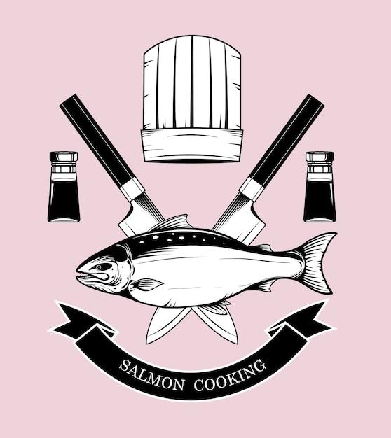 I marchi di cottura del salmone vector a mano il disegno Vettore Premium