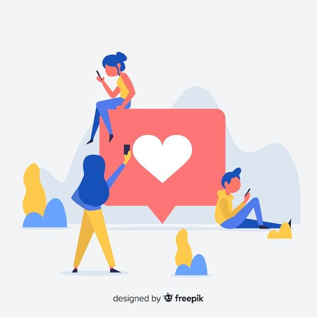 I media sociali piani dei giovani gradiscono il fondo di concetto Vettore gratuito