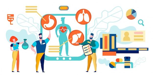 I medici fanno ricerca con dispositivo digitale. paziente Vettore Premium