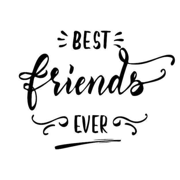 I migliori amici mai disegnati a mano Vettore Premium