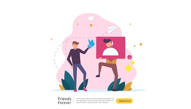 I migliori amici per sempre concetto Vettore Premium