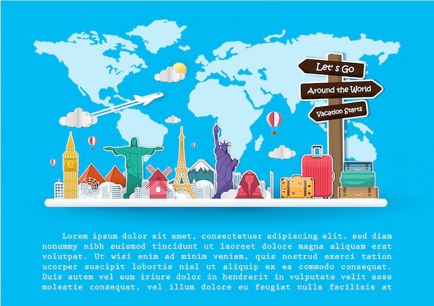 I migliori viaggi famosi in tutto il mondo. Vettore Premium