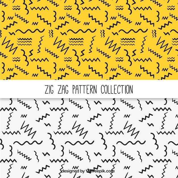 I modelli di linee a zig-zag disegnati a mano Vettore gratuito