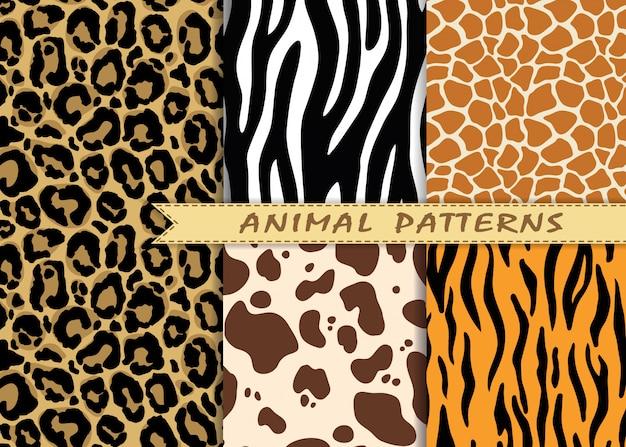 I modelli senza cuciture di vettore hanno messo con struttura della pelle animale. Vettore Premium