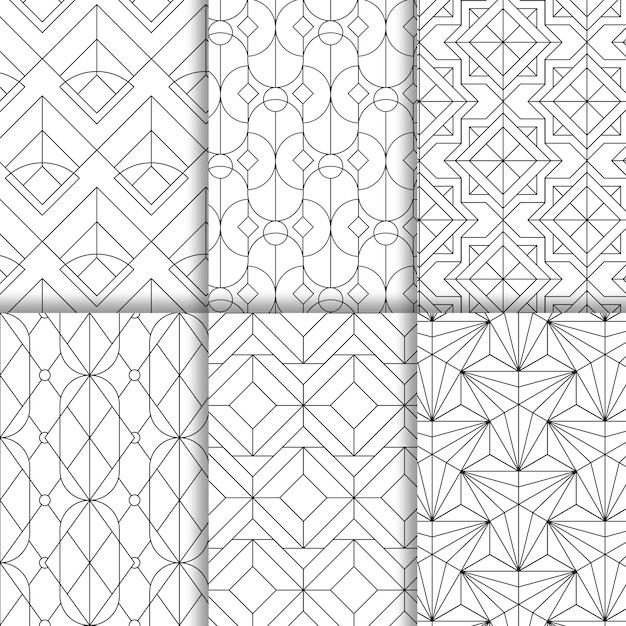 I modelli senza cuciture geometrici neri hanno messo su un fondo bianco Vettore gratuito