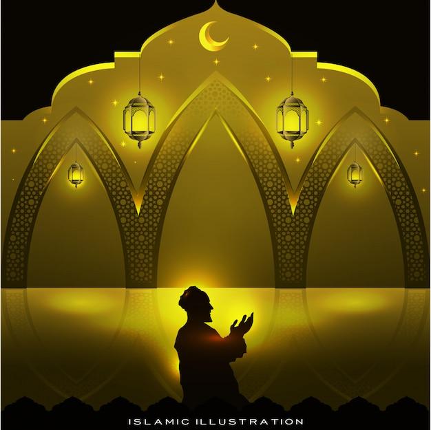 I musulmani pregano di notte con scintillii e lanterne, luna e stelle Vettore Premium