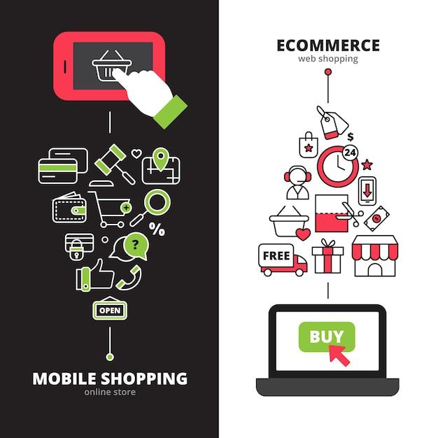 I negozi online che fissano il servizio di internet mobile di pagamento 2 insegne verticali hanno messo la linea astratta illustrazione isolata vettore Vettore gratuito