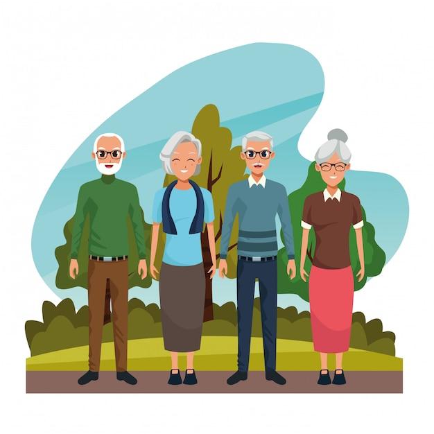 I nonni coppia sorridere nel fumetto della natura Vettore gratuito