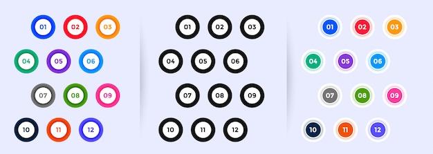 I numeri dei punti elenco circolare vanno da uno a dodici Vettore gratuito
