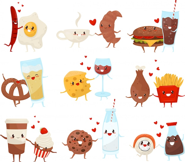 I personaggi dei cartoni animati divertenti svegli delle bevande e dell'alimento hanno messo, per sempre amici, illustrazione del menu degli alimenti a rapida preparazione su un fondo bianco Vettore Premium
