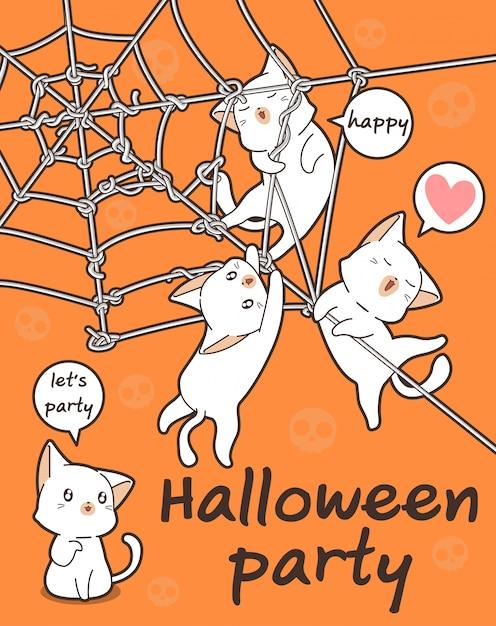 I personaggi dei gatti kawaii sono alla festa di halloween Vettore Premium