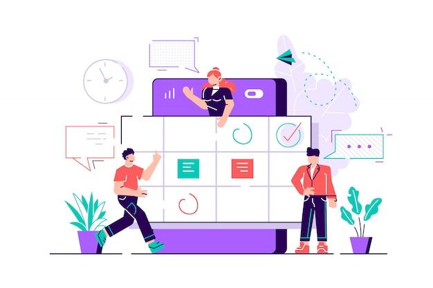 I personaggi di piccole persone fanno un programma online sul tablet. progettare attività di grafica aziendale programmando su una settimana. illustrazione di design moderno stile piano per pagina web, carte, poster. Vettore Premium