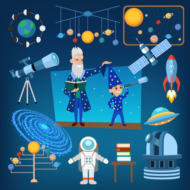 I pianeti e il sole dalle nostre icone di astrologia di astrologia del sistema solare vector l'illustrazione, istruzione della gente Vettore Premium