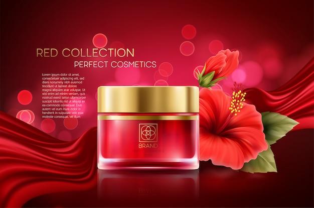 I prodotti cosmetici con la composizione di lusso della raccolta sul rosso hanno offuscato il fondo del bokeh con il fiore dell'ibisco. Vettore Premium